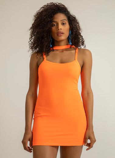 Foremia Arkası Çarpraz Mini Elbise 4074 Oranj
